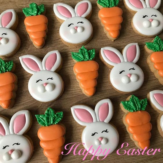 Easter Bunny Sugar Cookies, cute decorated Easter cookies with carrot cookies