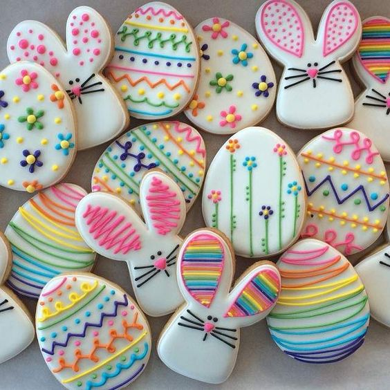 Eggs And Bunny Decorated Easter Cookies , colorful Easter egg cookies