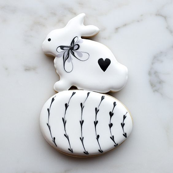 Black & White Bunny Cookie, cute decorated Easter cookies, decorated Easter egg cookies