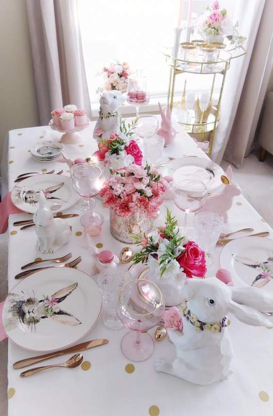 Pink Easter Table Decor Ideas