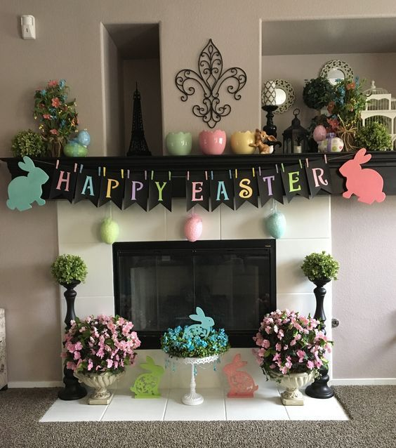 Colorful Spring Mantle Decor
