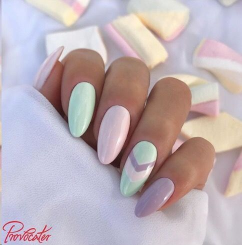 Pastel nails with min green and pastel purple