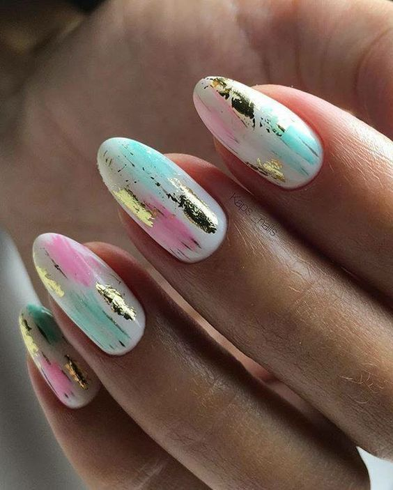 Pastel nails with gold foil