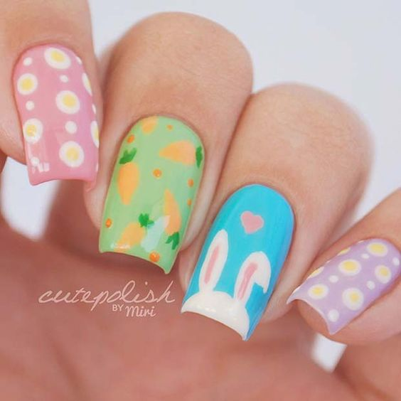 Cute Easter nail art with bunny