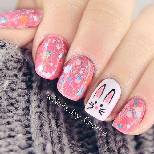 Pink glitter bunny nails - Cute Easter nails