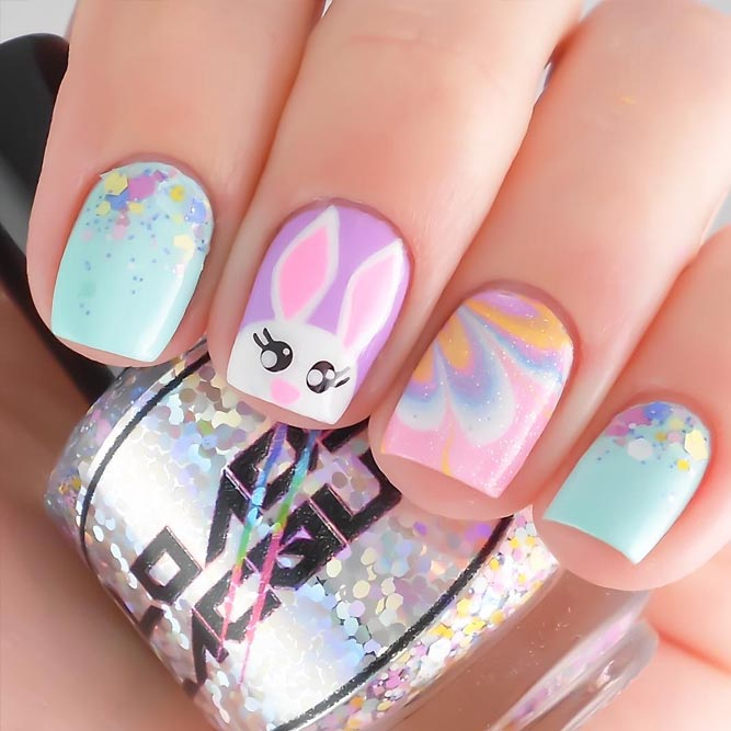 Colorful Easter nails with bunny nail art