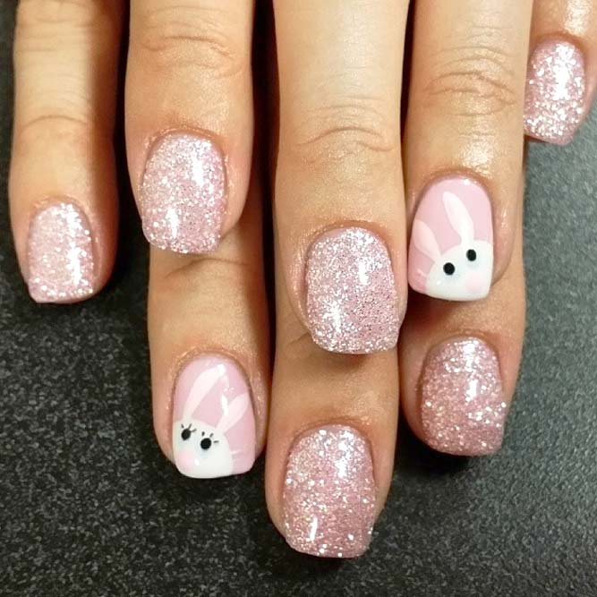 Pink bunny nails with glitter - Cute Easter nails