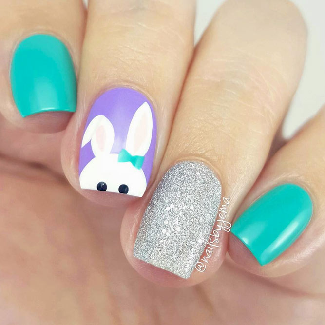 Cute Easter nails with bunny nail art