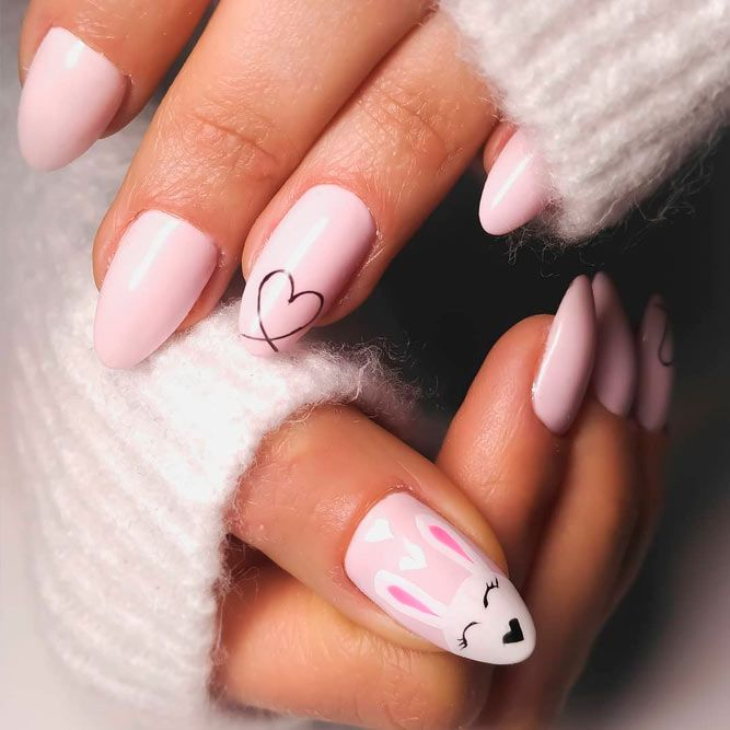 Cute Easter nails - pink bunny nails for spring