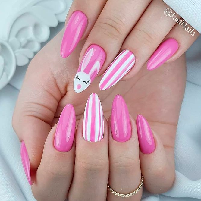 Pink bunny nails - pink Easter nails with bunny