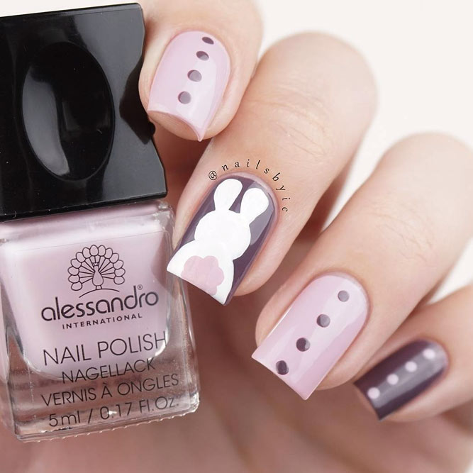 Cute Easter nails with pink bunny nails