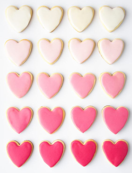 Cute valentine's day cookies and heart shaped cookies