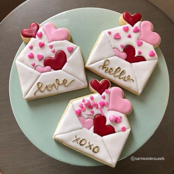 Cute love letter cookies