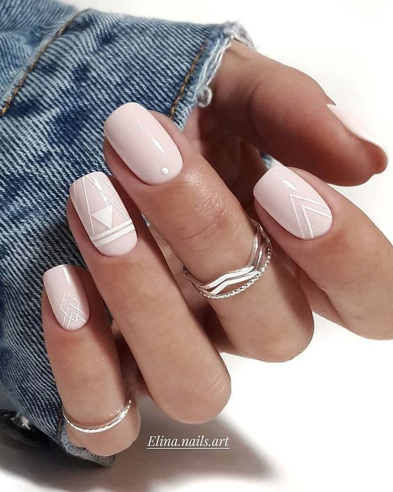 Simple spring nails with pink and white