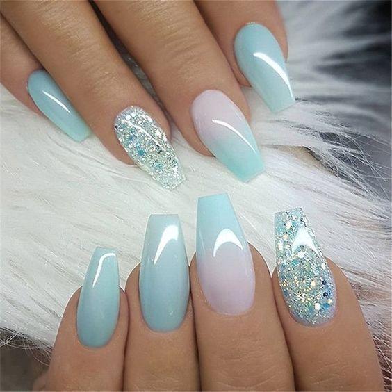 Light blue ombre nails - light blue spring nails