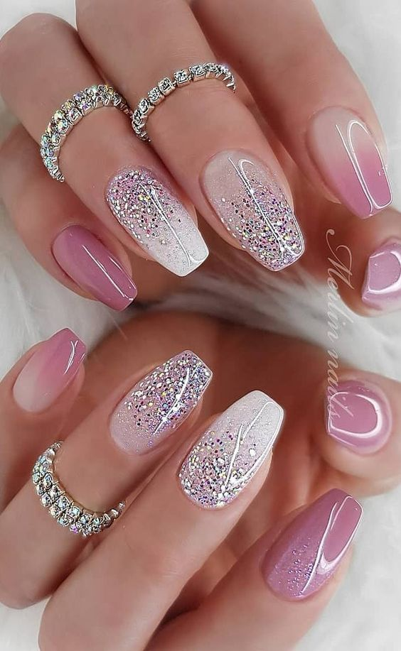 Pink ombre nails with glitter by Merlin Nails