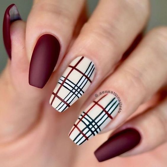 Burberry nails with burgundy and plaid - designer nails