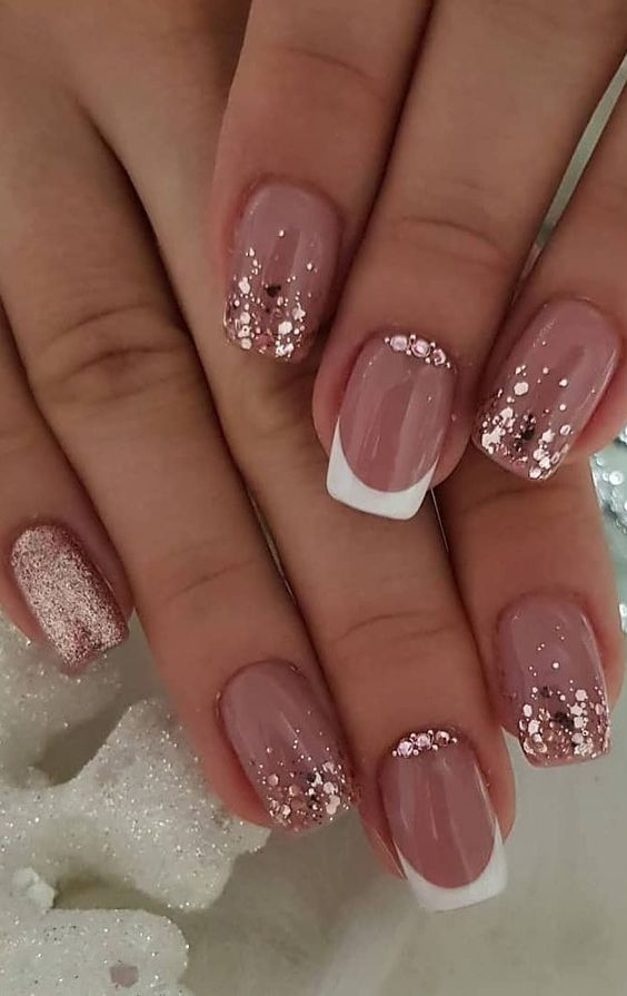 Simple spring nail art ideas on short nails with french mani