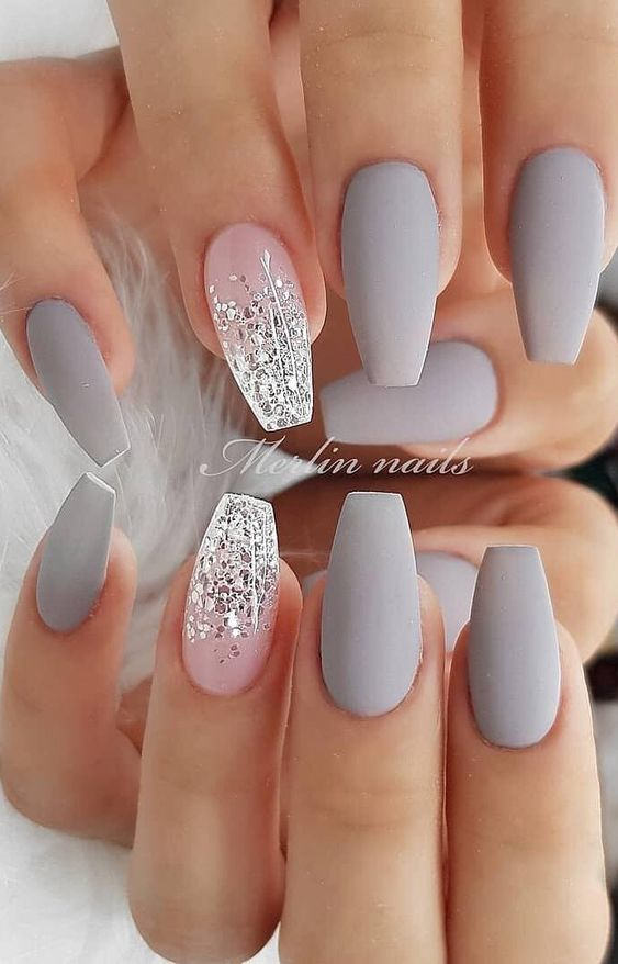 Grey simple spring nails by Merlin Nails
