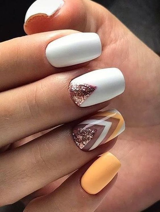 White spring nails with pastel nail art