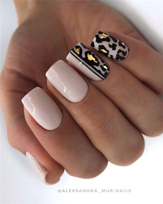 Light pink spring nails and animal print and gold foil