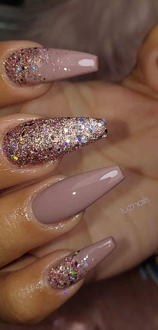 Neutral acrylic coffin nails with glitter - neutral spring nails in acrylic coffin shape