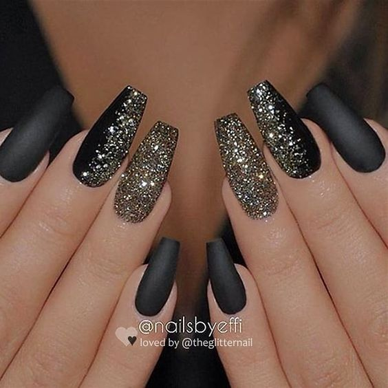 Matte black and glitter acrylic coffin nails