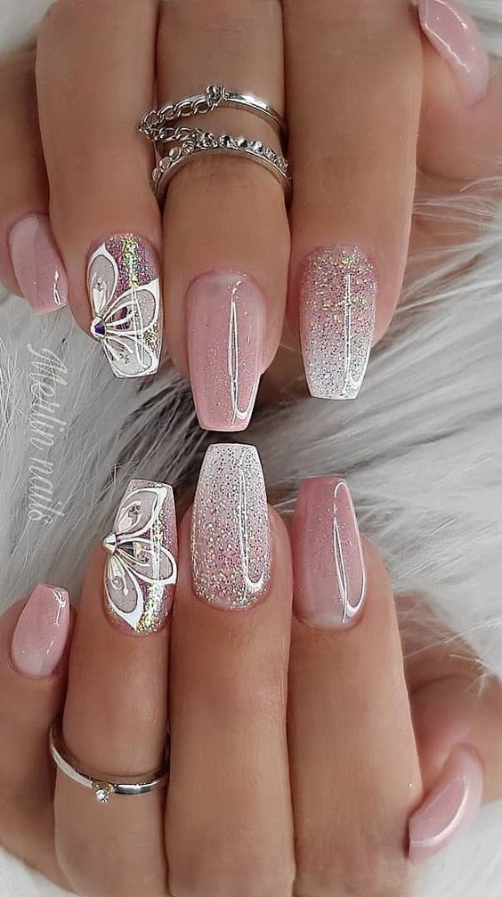 Pink and white ombre nails for spring by Merlin Nails