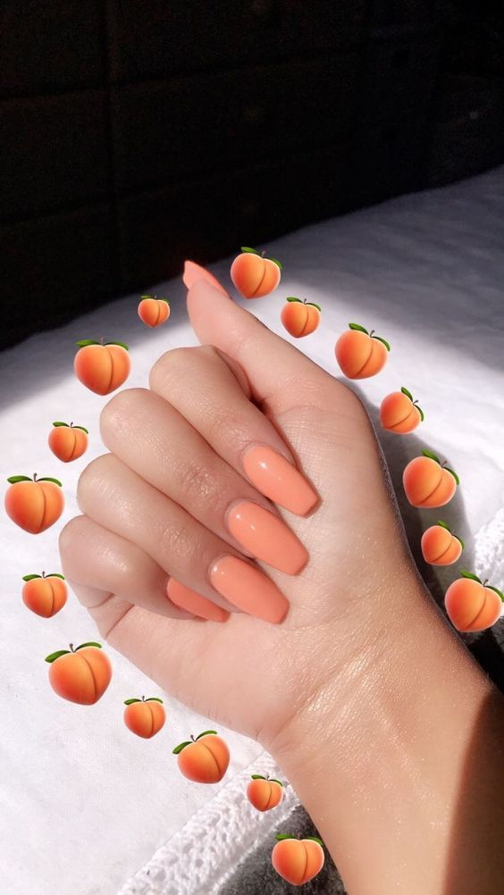 Peach nails for spring