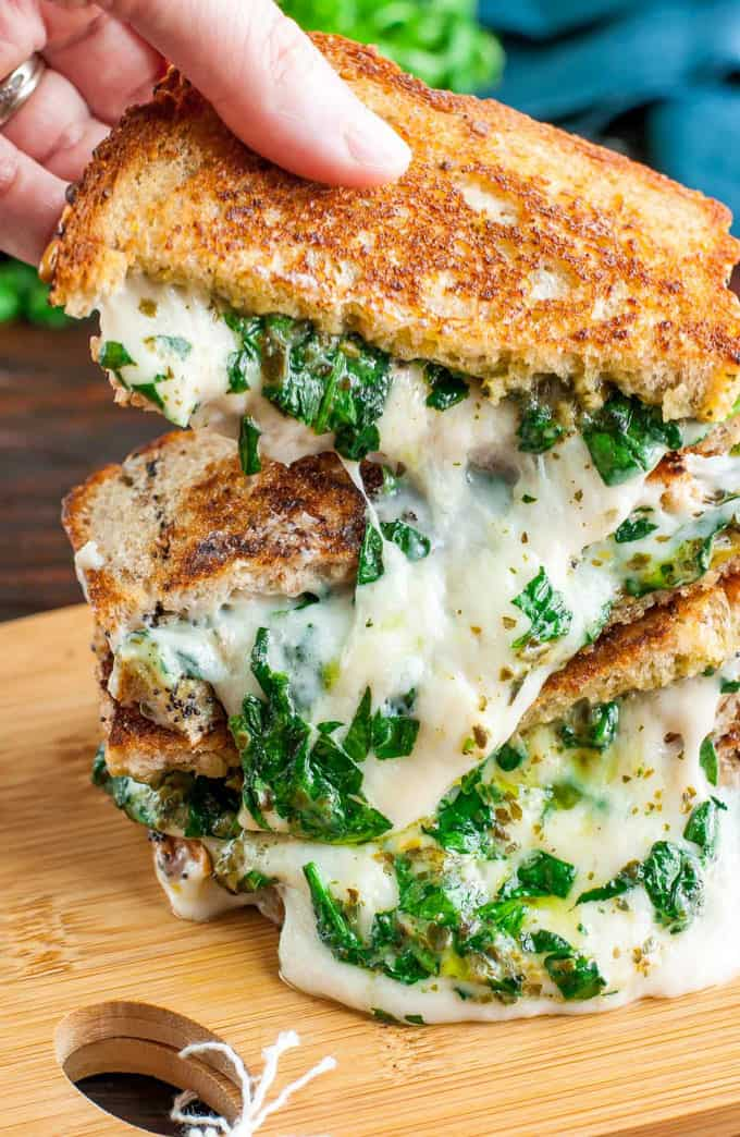 Easy Vegan Grilled Cheese Sandwich With Spinach Pesto
