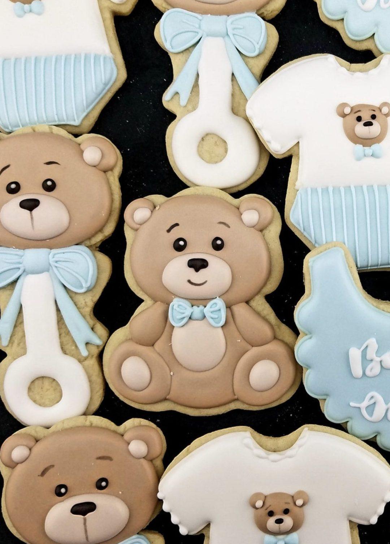 Blue Bear Baby Shower Cookies