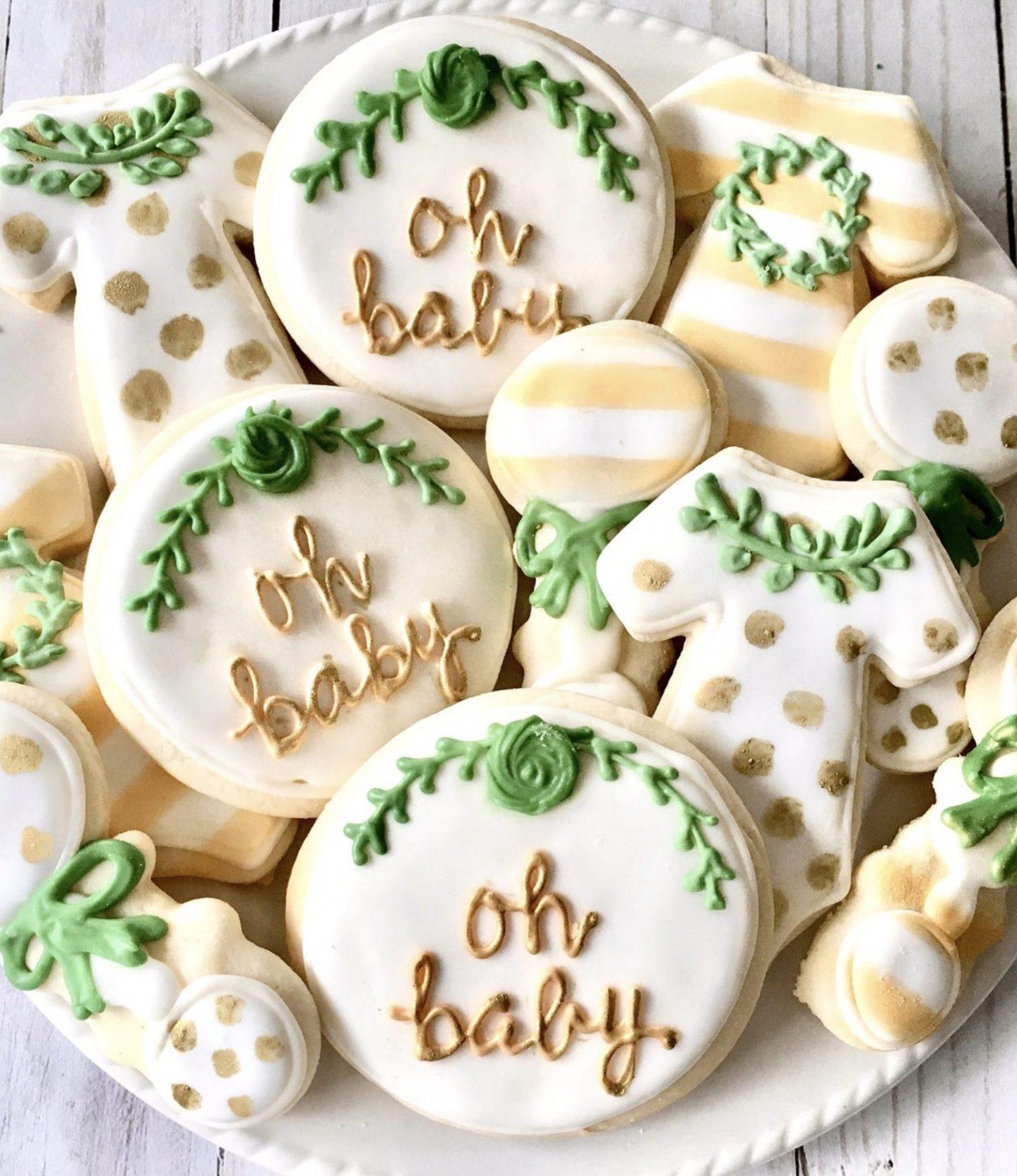 Gender Neutral Greenery Baby Shower Cookies