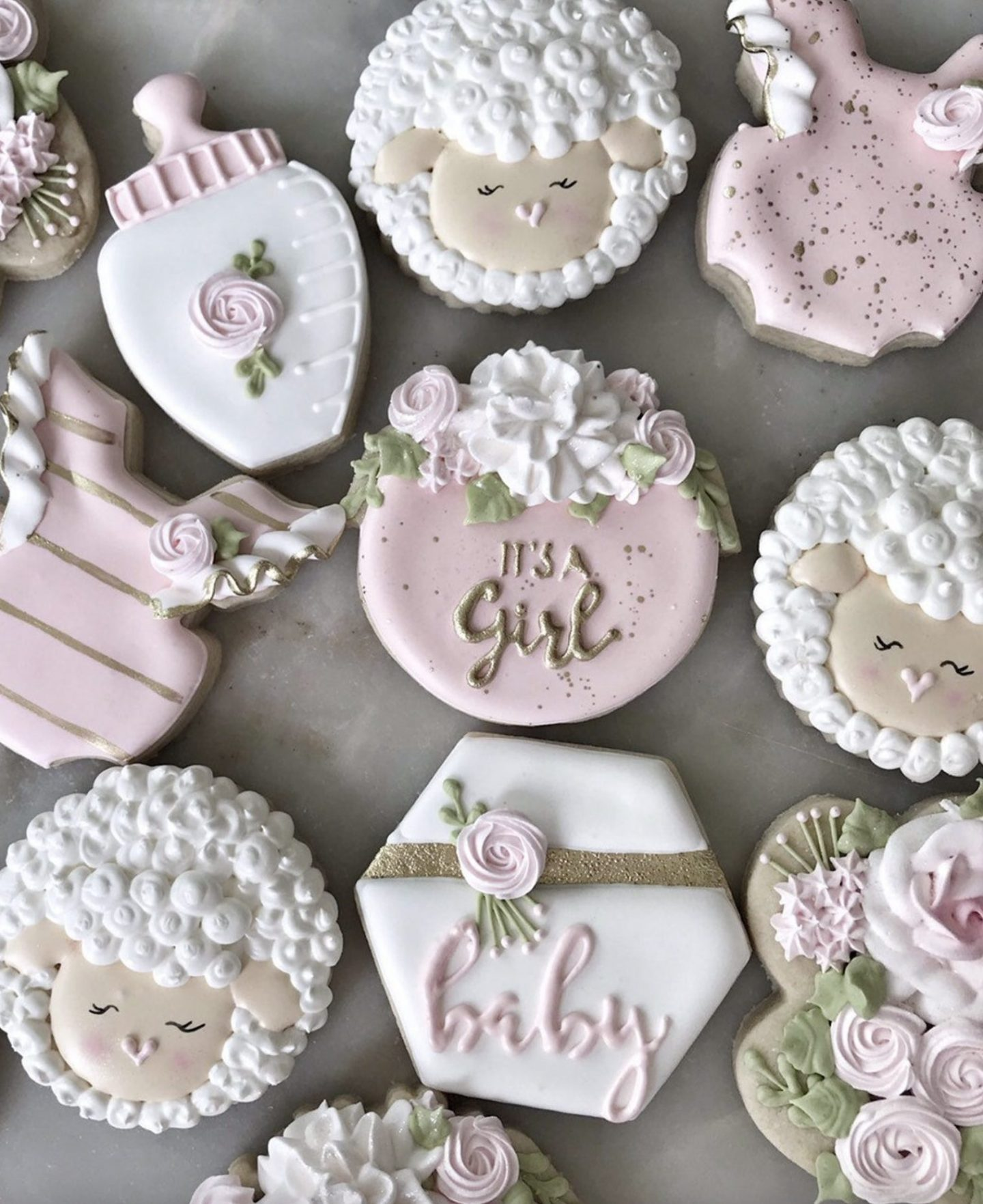 Pink Baby Shower Cookies With Sheep