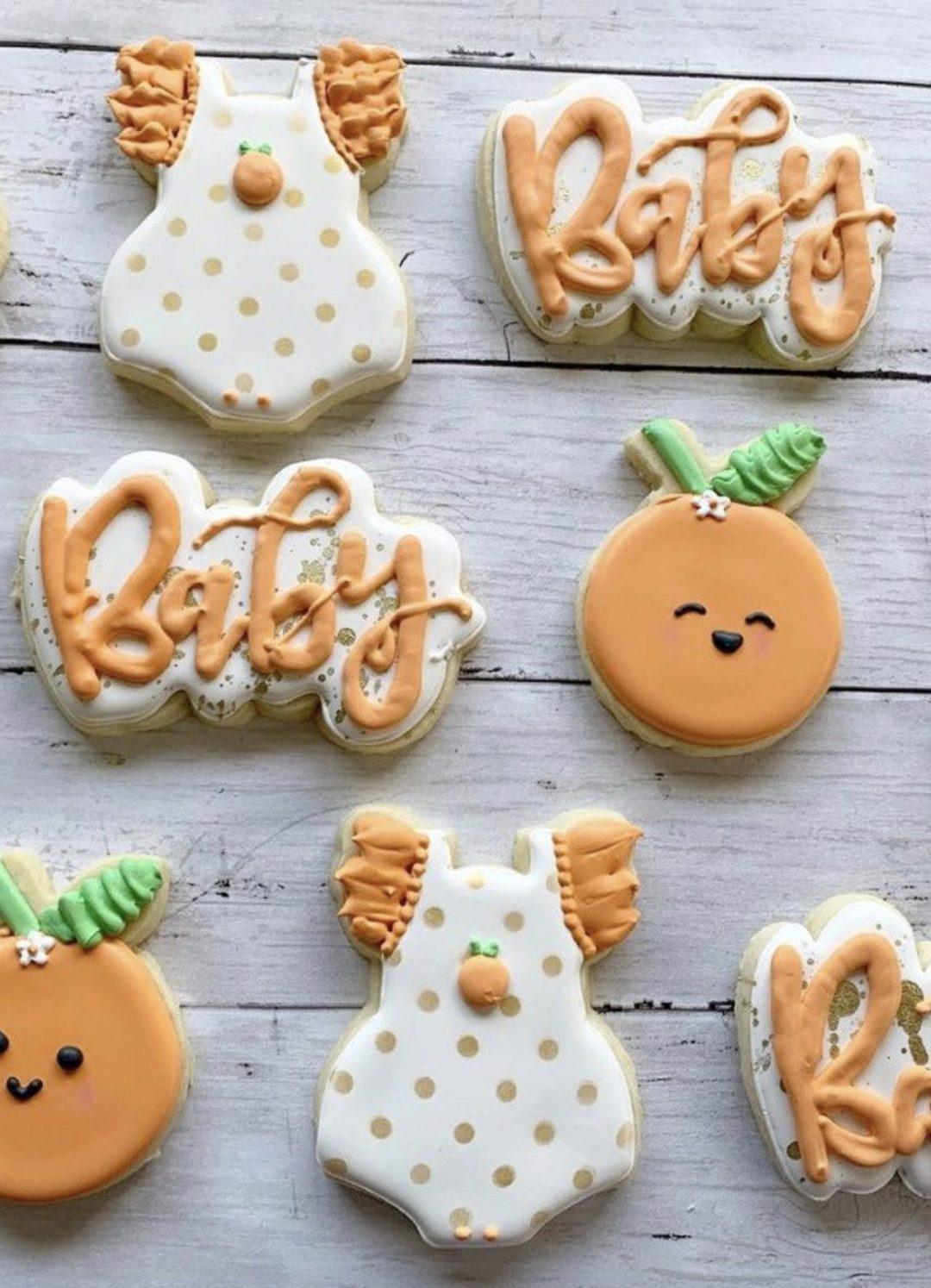 Cute peach baby shower cookies