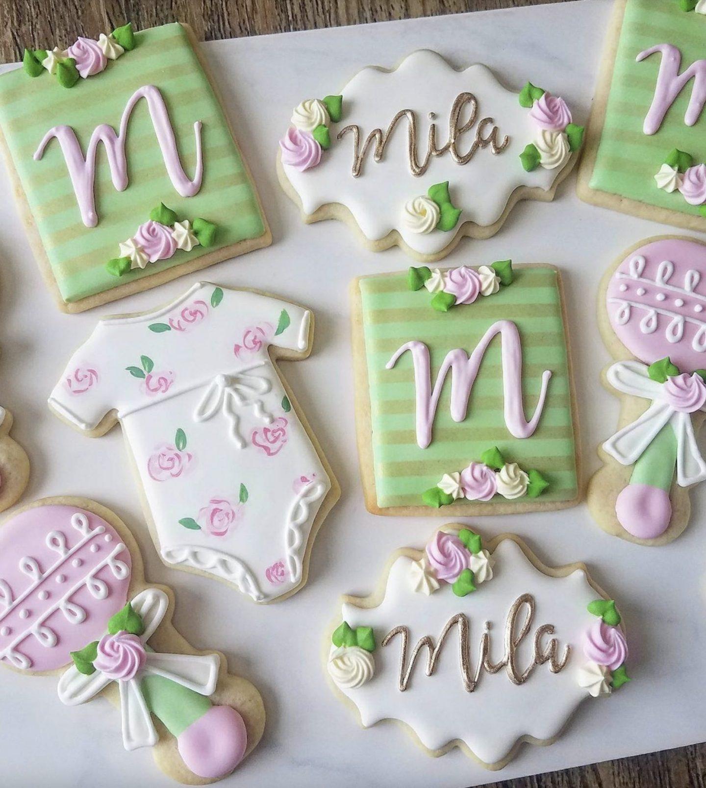 Pink & Green Floral Baby Shower Sugar Cookies