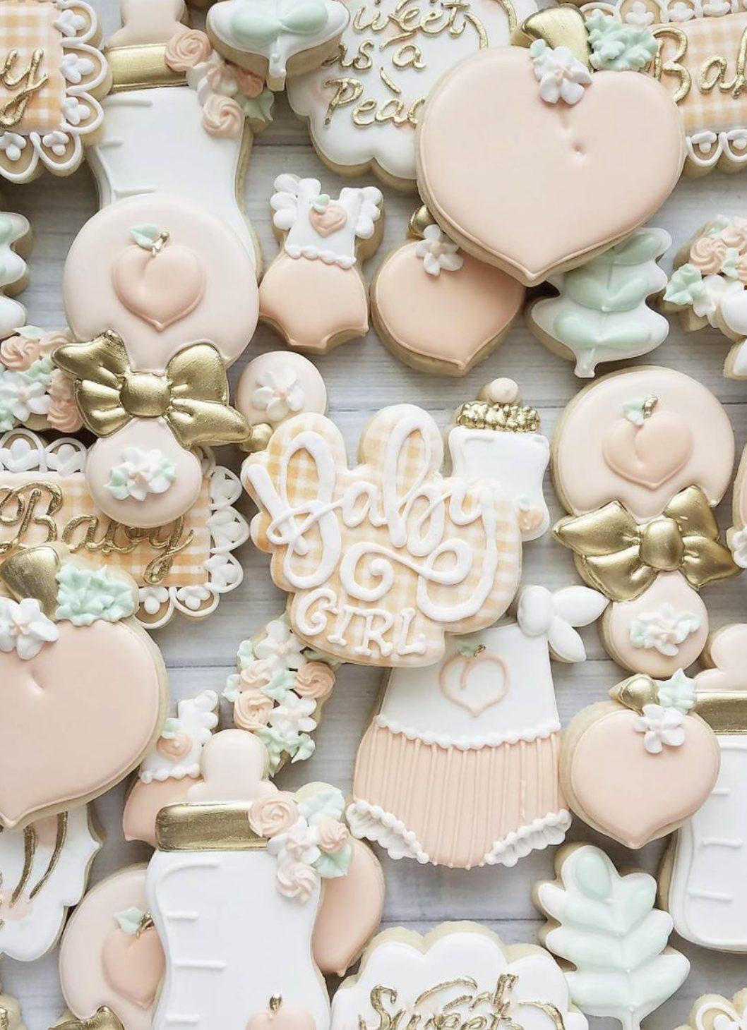 Peachy Baby Shower Cookies