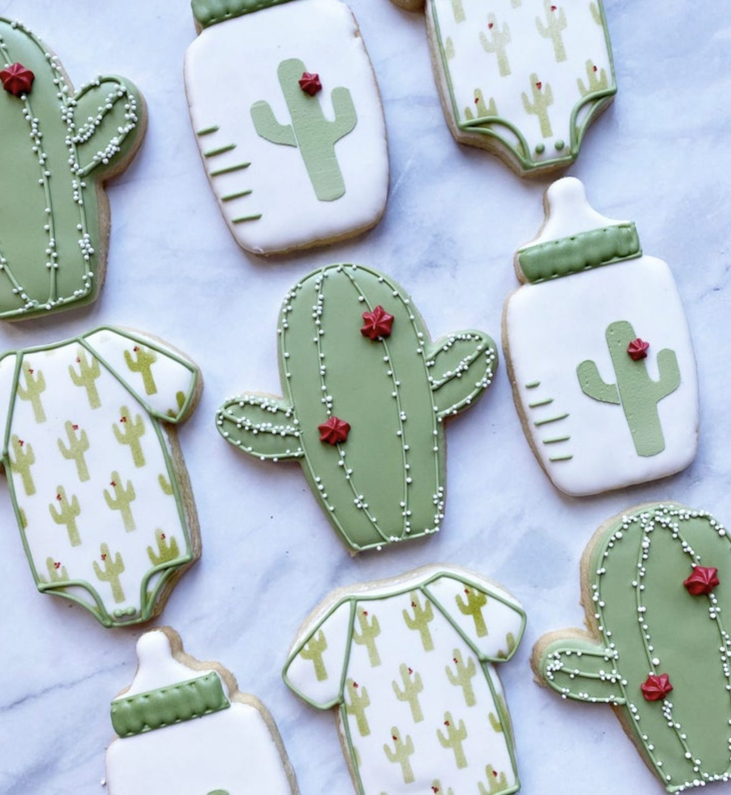 Cactus baby shower cookies
