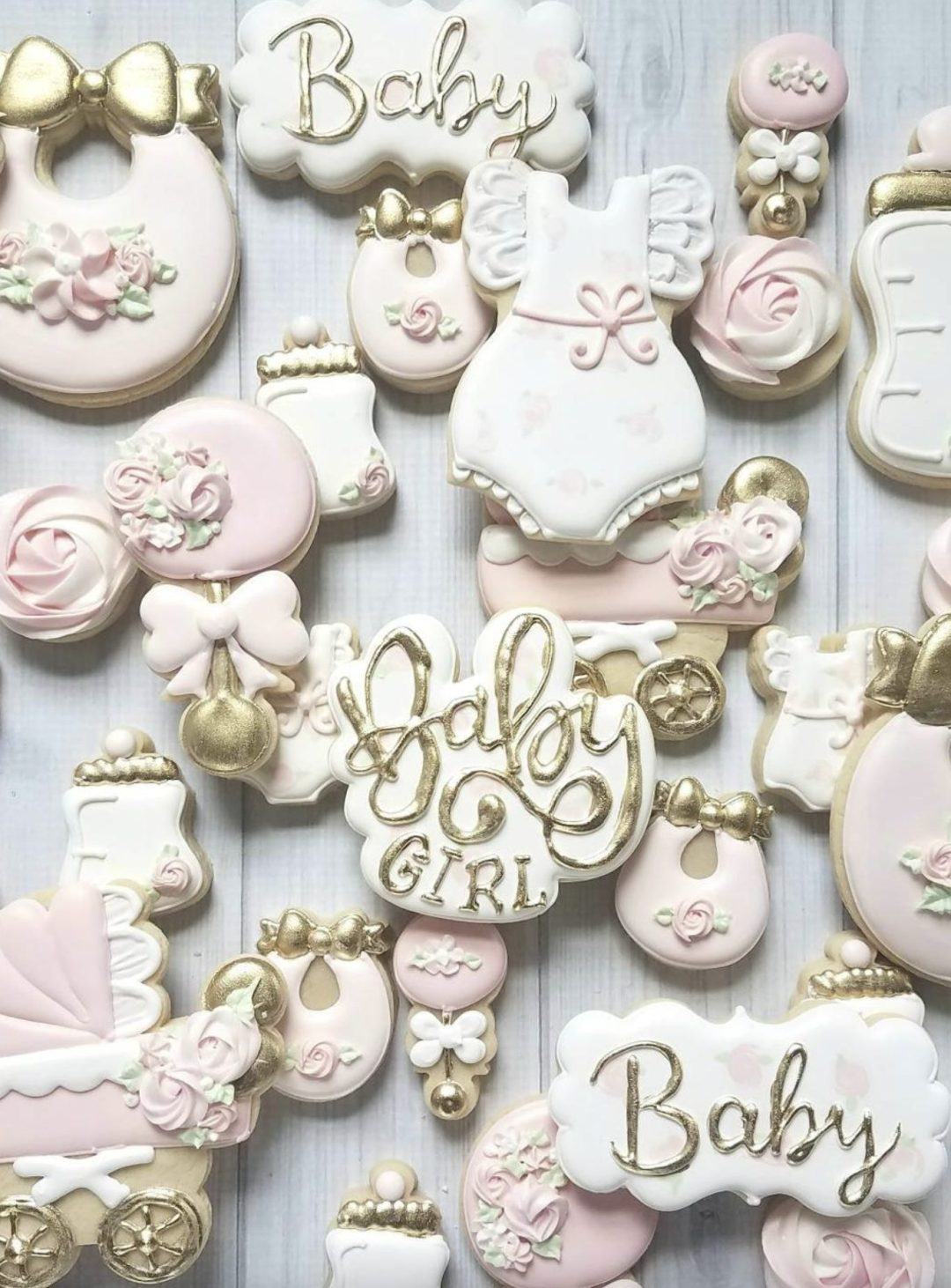 Baby Girl Pink & Gold Baby Shower Cookies