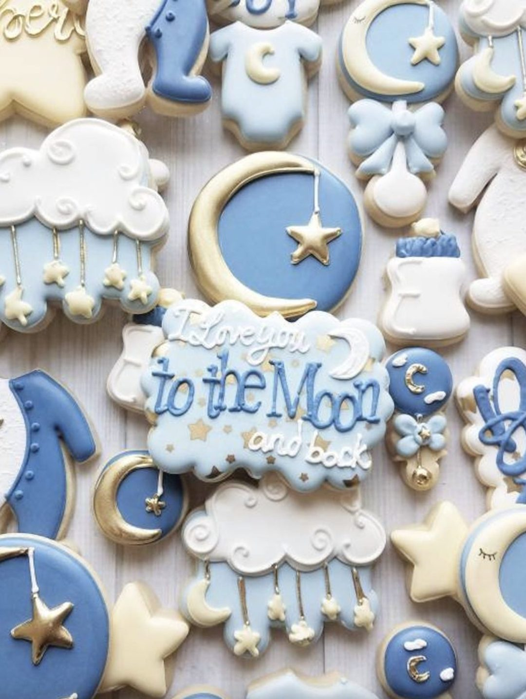 Moon and star baby shower cookies for baby boy