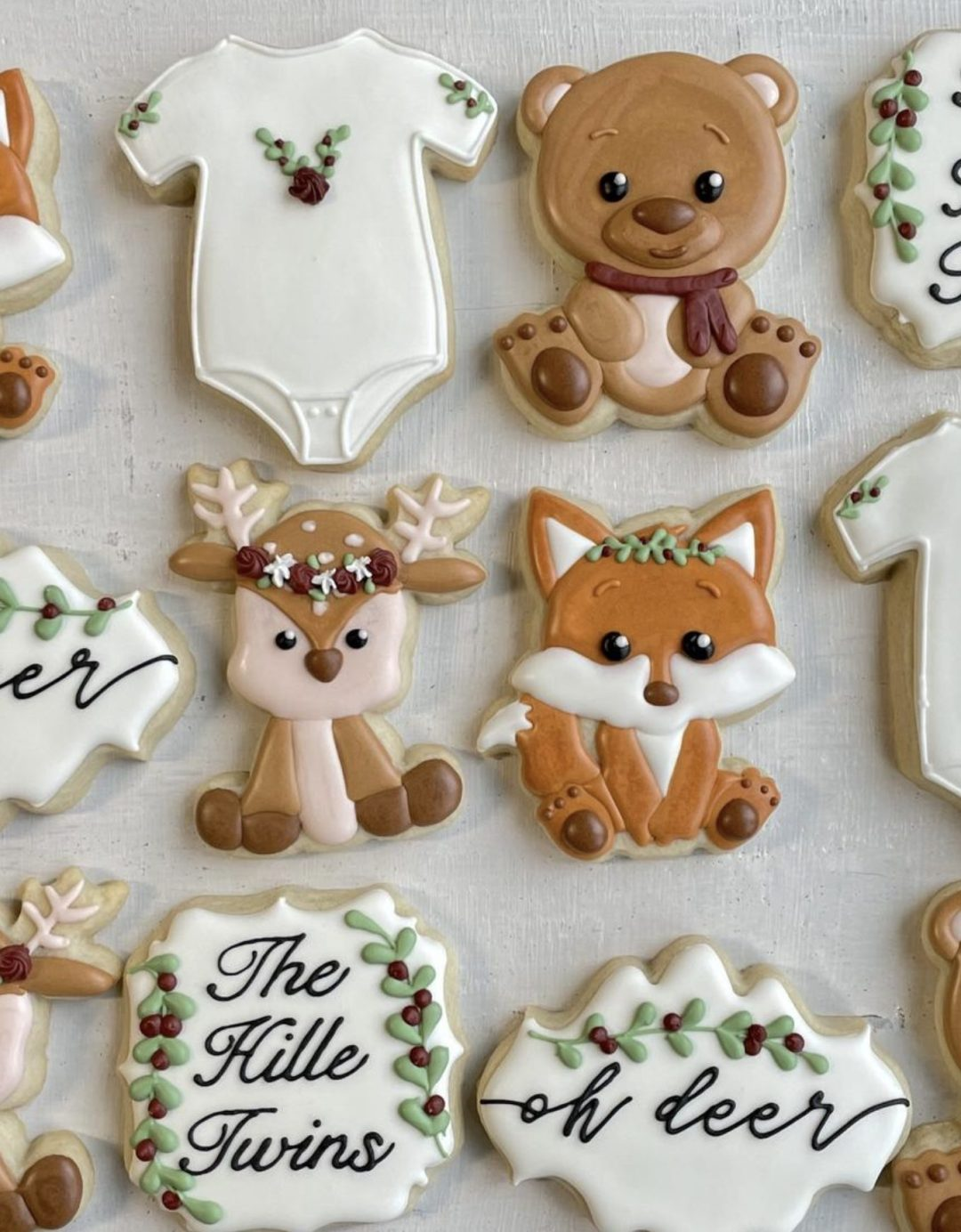 Woodland baby shower cookies with fox, deer and bear