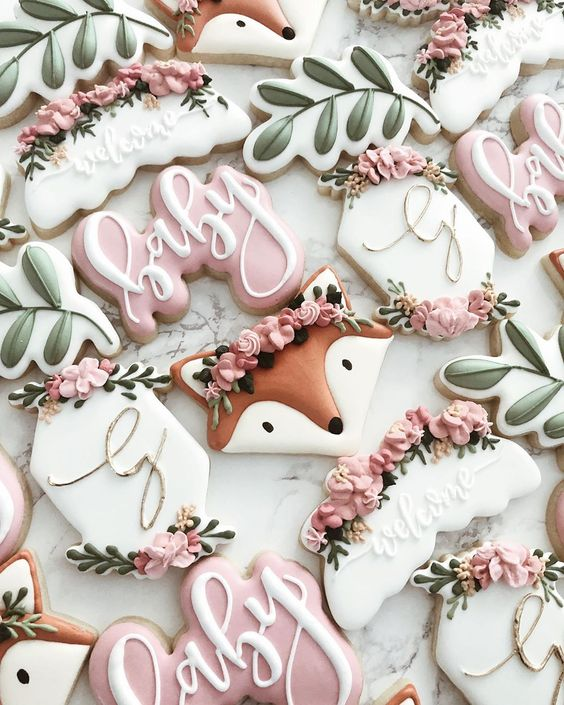 Nature baby shower cookies with fox for baby girl