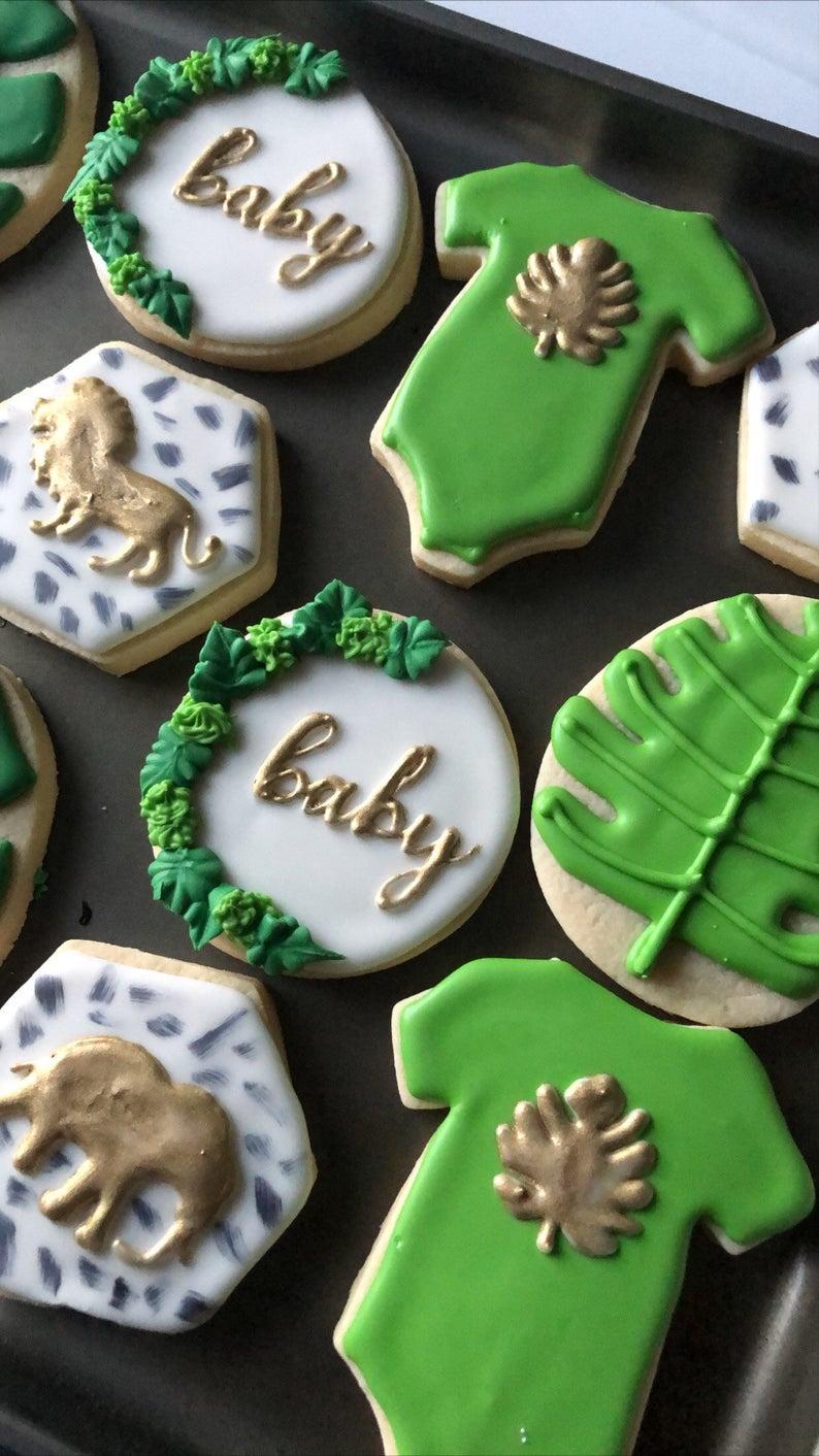 Green Jungle Baby Shower Cookies