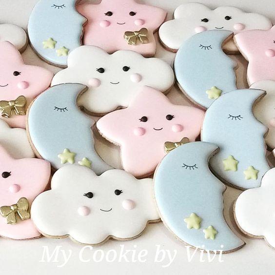 Twinkle twinkle little star baby shower cookies