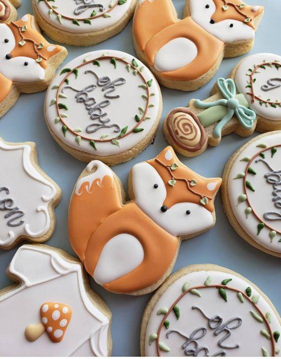 Fox baby shower cookies, gender neutral baby shower cookies