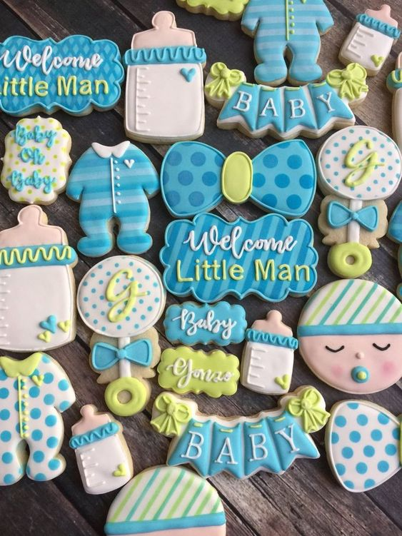 Blue baby shower cookies boy