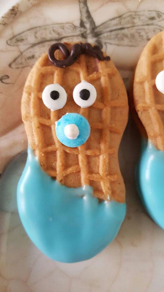 Peanut baby shower cookies boy