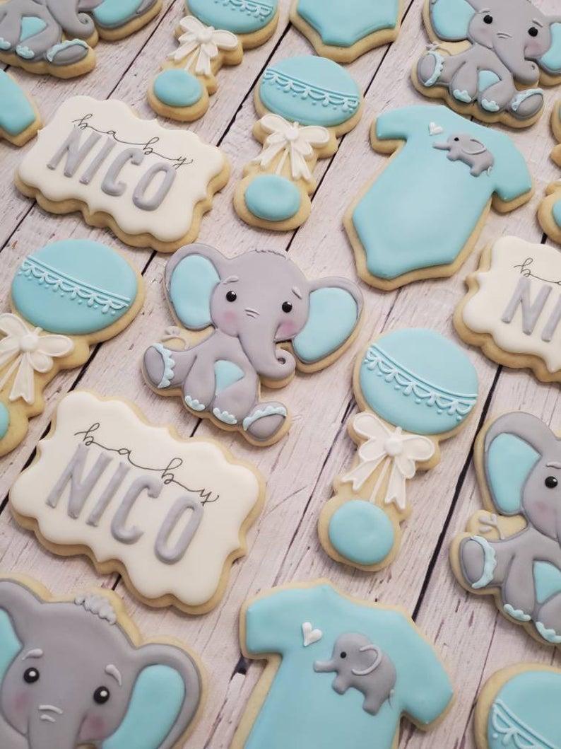 Elephant Baby Shower Cookies