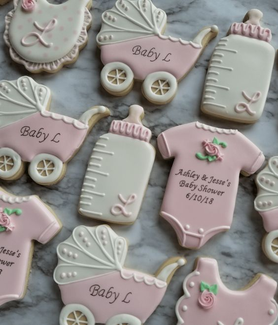 White and pink baby shower cookies girl with stroller