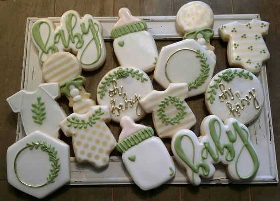 Greenery neutral baby shower cookies