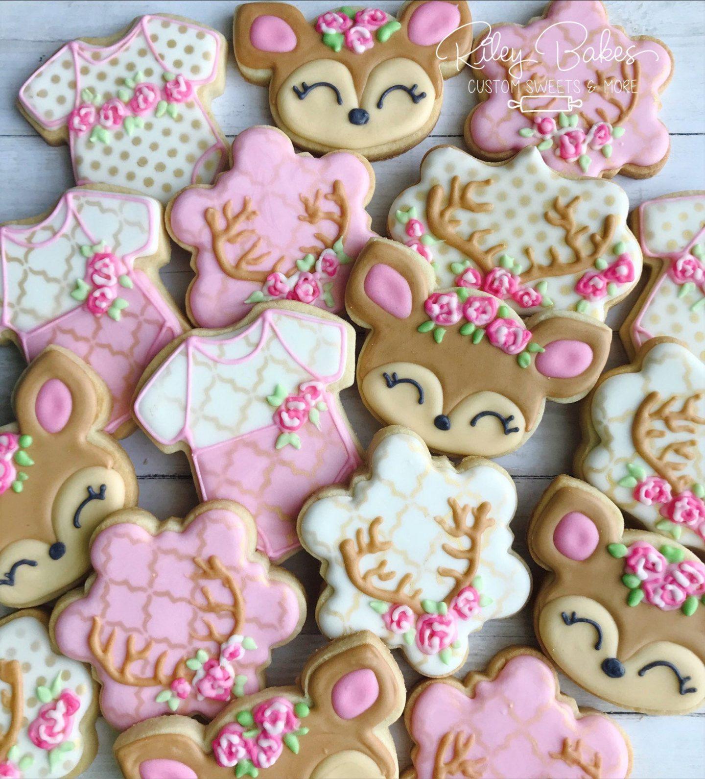 Pink Deer Baby Shower Cookies For Girls